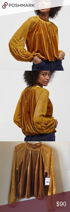 Free People Velvet Lace Blouse Simply Unique and Fabulous!! New with tags sold out-Free People Velvet Mustard Blouse with lace sleeves. This is super cute and soft, just didn't work for me! ;( Size large fits true to size. Free People Tops Blouses