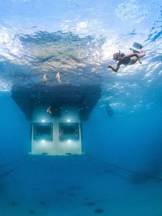 In 2013, the Manta Resort off the coast of Zanzibar opened a three-level hotel room submerged four meters under the sea. The suite also offers stellar stargazing from the roof deck.Related: Look at These Incredible Photos of Zanzibar's New Underwater Hotel Room