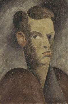 Oskar Schlemmer, Männlicher Kopf I, Selbstbildnis, 1912 Öl auf Leinwand, 45,4 x 33,8 cm Foto: Staatsgalerie Stuttgart