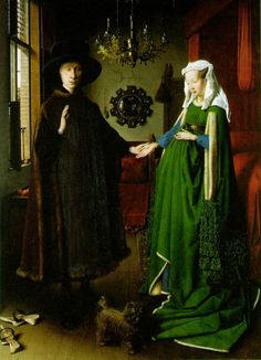 The Arnolfini Wedding (1434) by Jan Van Eyck,  a Flemish painter active in Bruges. The painting is believed to represent the Italian merchant Giovanni di Nicolao Arnolfini and his wife, presumably in their home, Flemish city, Bruges. It is considered one of the most original and complex paintings in Western art.