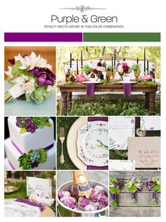 Purple and green wedding inspiration board, color palette, mood board via Weddings Illustrated
