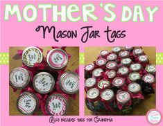 Christine's Crafty Creations: May 2016 Mason Jar Tags, Kindergarten Activities, Preschool, Great Mothers Day Gifts, Elementary Schools, Elementary Teacher, Classroom Crafts, Teacher Organization, School Holidays