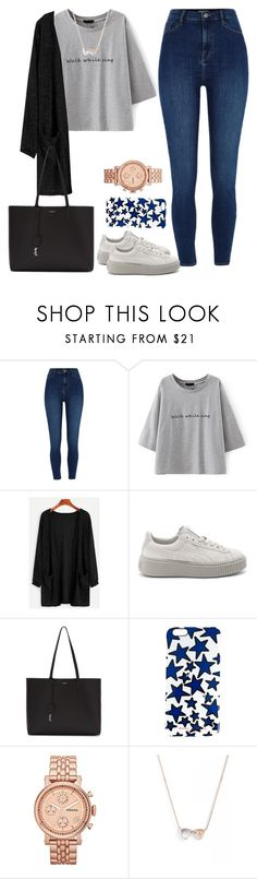 """""""Untitled #1715"""" by blossomfade ❤ liked on Polyvore featuring River Island, WithChic, Puma, Yves Saint Laurent, Marc Jacobs, FOSSIL and Dana Rebecca Designs"""