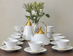 Arabia Finland 'Harlekin Gold' Teapot, Coffee Pot, Footed Cups and Saucers Designed by Inkeri Leivo, Finnish Servingware, White & Gold