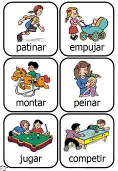 Spanish Action Kids printable common verbs card set -- $1.95 on TpT or FREE using PKS points!  [PrintableKidStuff.com]