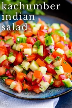 Kachumber Salad (Indian Salad) | Sprinkles and Sprouts  Food Kachumber Salad is the cucumber, tomato, and onion salad that is so popular at many Indian restaurants. This is a fresh, easy chopped salad with a simple dressing. Although traditionally served with curries and dals, you could add it to your burgers, tacos, or use it as a dip with chips. The vegetables are dressed with lemon juice, salt, and a little cumin and chili. If you want to add some fresh herbs, cilantro or mint would be… Cucumber Onion Salad, Tomato And Onion Salad, Salads To Go, Easy Salads, Sprout Recipes, Vegetable Recipes, California Salad, Kachumber Salad, Salad Recipes