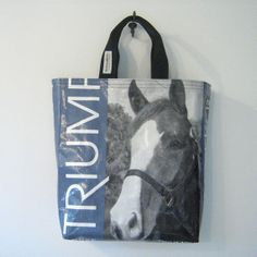 Recycled Horse Feed Bag Tote Riding Boot Bag by OneWomanStudio, $38.00