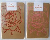 Lino Printed Rose Notebook -- I love roses! Marriage Certificate, Love Rose, Printmaking, Notebook, Roses, Unique Jewelry, Handmade Gifts, Printed, My Love
