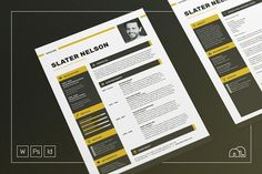 Professional Resume/CV - Cover Letter Template for Word - Photoshop - InDesign Slater by bilmaw creative on Cover Letter Template, Cv Cover Letter, Cv Template, Letter Templates, Resume Templates, Resume Cv, Resume Design, Resume Help, Cv Design