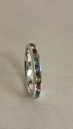 Eternity ring  3mm Multi color mothers Eternity by StonedElements