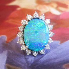 Vintage Estate 1970's 7.47ct t.w. Solid Boulder Opal & Diamond Halo…
