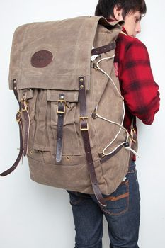 Frost River's Isle Royale Bushcraft Pack, 4968 cu in. (over 80 liters) capacity, waxed canvas and leather. $310