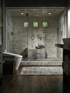 Gorgeous.  I love stone showers .
