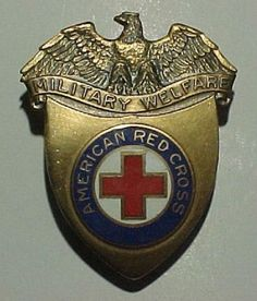 WW2 ARC Military Welfare Hat Badge - American Red Cross
