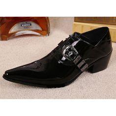 Black Patent Cowhide Leather High Heel Wedding Prom Dress Shoes Men SKU-1100780