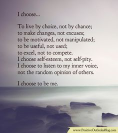 I Pick Self-Esteem, Not Self-Pity | Positive Outlooks Blog