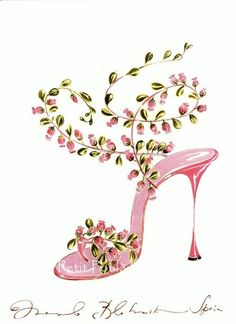 Girly Pink pump with rosebuds....
