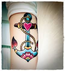 Image result for tattoos tumblr, such a colourful and bright tattoo, anchor and rope with a love heart, perfect