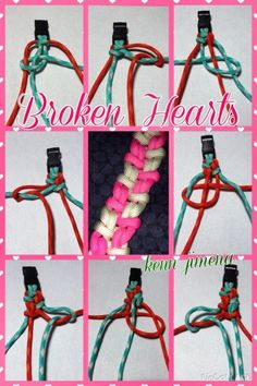Broken Hearts - Tutorials by Kenn Jimena Paracord Tutorial, Bracelet Tutorial, Paracord Ideas, Swiss Paracord, 550 Paracord, Parachute Cord Crafts, Fun Loom, Paracord Bracelets, Gimp Bracelets