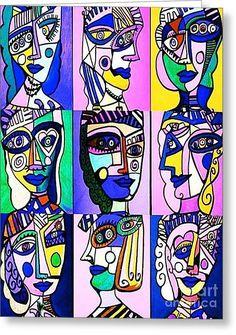 Picasso Blue Women Greeting Card by Sandra Silberzweig