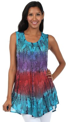 Sakkas Ombre Floral Tie Dye Flared Hem Sleeveless Cotton Tunic Blouse