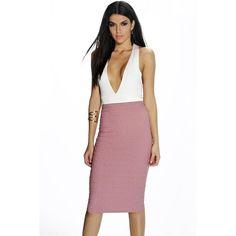 Boohoo Night Alannah Textured Midi Skirt ($16) ❤ liked on Polyvore featuring skirts, dusky pink, white maxi skirt, a-line skirt, white knee length skirt, boho skirt and midi skirt