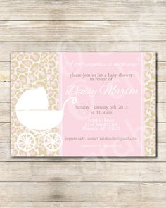 Printable Pink and brown Leopard Baby Shower Invitation -- sarah O chic -- pink and brown, leopard, cheetah,baby shower. $12.00, via Etsy.