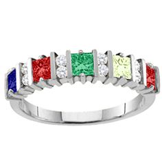 """Echo"" 2-6 Princess Cut Stones Mother's Ring With Accents #jewlr"