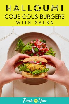 These slimming friendly Halloumi Cous Cous Burgers with Salsa are so substantial and filling that you won Healthy Steak Recipes, Low Calorie Recipes, Clean Eating Recipes, Vegetarian Recipes, Cooking Recipes, Healthy Food, Yummy Food, Halloumi, Healthy Family Meals