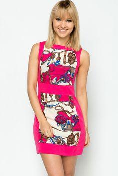 Scarf+Print+Panel+Dress