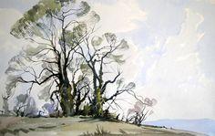 Jem Bowden - Spring trees on Lansdown hil Watercolor Painting Techniques, Watercolor Landscape Paintings, Watercolor Artists, Artist Painting, Watercolour Painting, Watercolours, Watercolor Tutorials, Watercolor Clouds, Apple Art