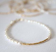 Pearl and gold Bracelet Wedding Jewelry by lizaslittlethings