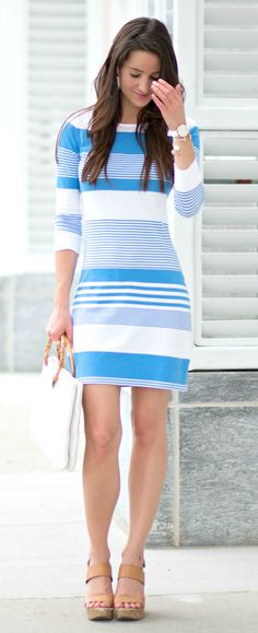 Nautical Lilly Pulitzer shirtdress with white leather Talbots handbag, nude wedges, and white Michele watch | So New England Right Now: Lilly Pulitzer Nautical T-Shirt Dress by Stephanie Ziajka of Diary of a Debutante