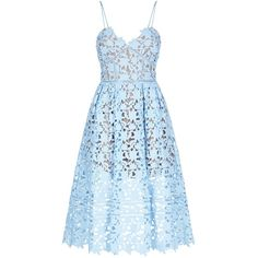 Self-Portrait Azaelea Strap Midi Dress (€300) ❤ liked on Polyvore featuring dresses, blue cocktail dresses, floral dresses, blue lace dress, floral midi dress and blue formal dresses