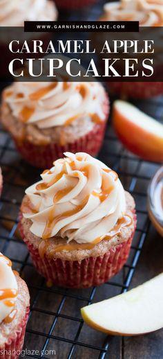 Caramel Apple Cupcakes, Caramel Apples, Caramel Frosting, Apple Caramel, Buttercream Frosting, Yummy Treats, Delicious Desserts, Sweet Treats, Yummy Food