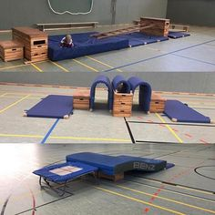 # Equipment landscape for the gymnastics motion - Kinderspiele Toddler Sports, Kids Sports, Sports Activities, Fun Activities For Kids, Preschool Gymnastics, Baby Gym, Camping Games, School Sports, Exercise For Kids