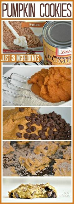 RECIPES : Pumpkin Chocolate Chip Cookies . Just three ingredients to perfection... Pin it now and bake them later! the36thavenue.com
