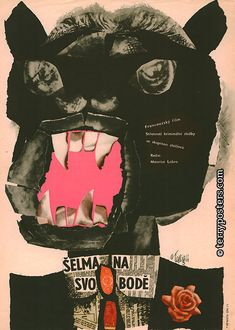 Beast is Loose (La Fauve est laché), Film poster by Karel Teissig. Film poster by Karel Teissig.The Beast is Loose (La Fauve est laché), Film poster by Karel Teissig. Film poster by Karel Teissig. Poster Retro, Poster S, Vintage Posters, Collages, Collage Art, Design Observer, Plakat Design, The Beast, Creation Art