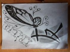 Vlinder met vriendschaps teken in het chinees