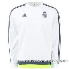 Camiseta de fútbol baratas entrenamiento manga larga Real Madrid 2016 blanco f03cfbc4bde59