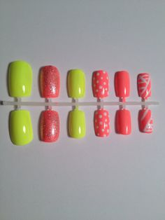 Neon Yellow Coral Glitter Polka Dots False Artificial