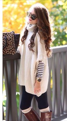 Want this!  Cream colored poncho sweater on top of baby striped long sleeve shirt. Love the Tory burch boots!   And that leopard print bag!!  Stitch fix 2016. Stitch fix fall 2016.  Stitch fix winter 2016.  Fall  fashion trends and inspiration.