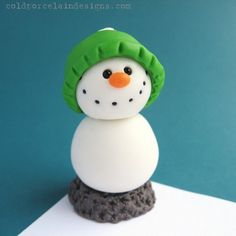 Clay snowmen. Recreate using polymer or Crayola air dry clay and add large and small black glass beads for the mouth and eyes