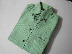 For sale. Clicking on photo will bring up the listing with more information. Mens Vintage Ben Sherman Short Sleeve Green Plaid by BathoryZ