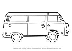 Step by step How to Draw a Camper Van in 9 easy steps Easy Drawing Steps, Easy Drawings, Van Drawing, Camper Drawing, Combi T2, Vw Modelle, Play Poster, Kombi Home, Truck Coloring Pages