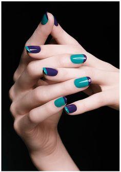 Blue & green nails
