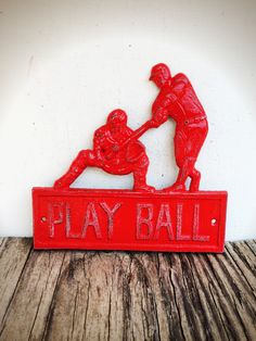 BOLD play ball baseball sign // rustic apple red & white // shabby chic home decor // boys room man cave // metal signs // nursery decor by BOLDHOUSE on Etsy https://www.etsy.com/listing/245827413/bold-play-ball-baseball-sign-rustic