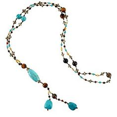 Chuvora Genuine Turquoise Stones Multi Gemstones Crystals Long Necklace 26''  http://electmejewellery.com/jewelry/necklaces/strands/chuvora-genuine-turquoise-stones-multi-gemstones-crystals-long-necklace-263939-com/