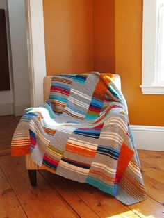 knit blanket idea...knit strips and join (could also join as you knit.) great for using up scraps