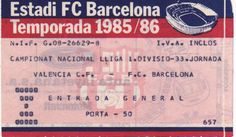 Barcelona-VCF 85-86 (Liga) Fc Barcelona, Valencia, Social Security, Wish, Personalized Items, Cards, Playing Cards, Maps